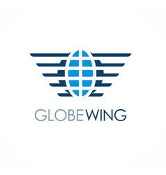 globe wing emblem logo vector image