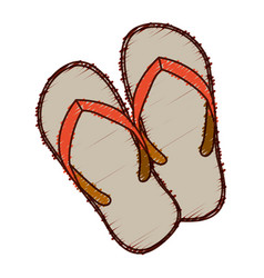 hand colored drawing of beach flip-flops vector image vector image