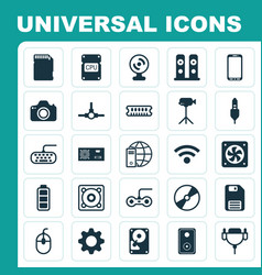 Hardware icons set collection of settings aux vector