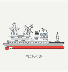 Line flat color icon scientific ship vector
