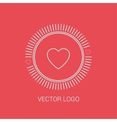 Line heart design logos and icons elements for vector image vector image