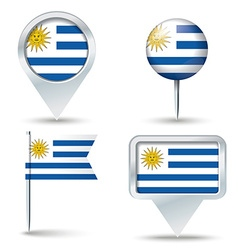 Map pins with flag of Uruguay vector image vector image
