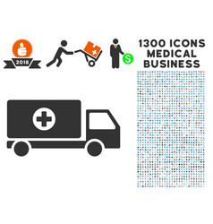 Mobile hospital automobile icon with 1300 medical vector