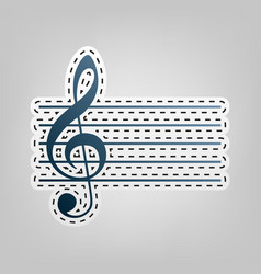 Music violin clef sign g-clef blue icon vector