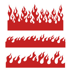 Red flame elements for the endless border vector