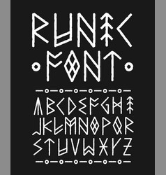 runic hand drawn font ink brush vector image