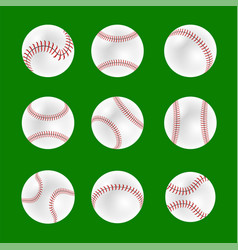 Set of baseball balls vector