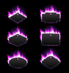 set of six frames surrounded with purple flame vector image vector image