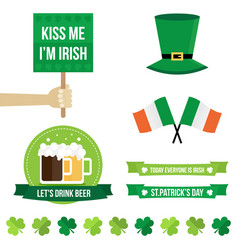 Set of st patricks day flat design elements icons vector