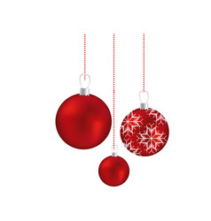 Set red garlands christmas holding with snowflakes vector