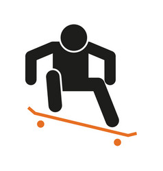 Simple skateboard ollie sport figure symbol vector