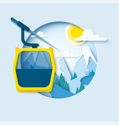 skiing paper cut banner vector image