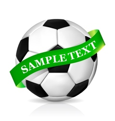 Soccer ball with ribbon vector image