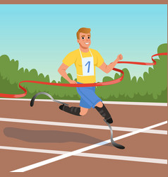 Sprinter with prosthetic legs taking part in vector