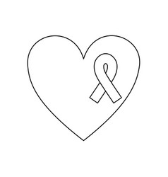 Symbol heart with breast cancer ribbon icon vector