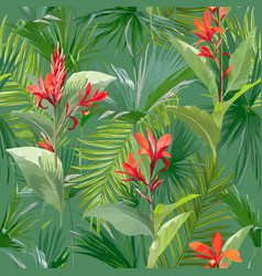tropical palm leaves and flowers seamless pattern vector image vector image