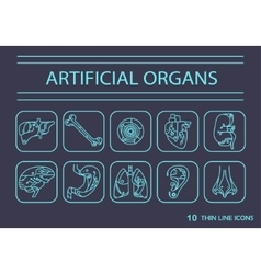 Thin line icons - artificial organs 2 vector