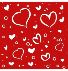 Hand drawn white hearts on red background vector