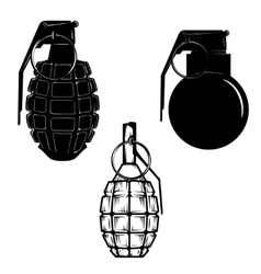 Set of hand grenades isolated on white background vector
