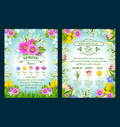 Spring holiday sale posters set vector