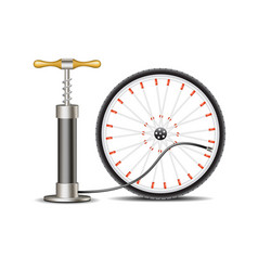 air pump with bicycle wheel vector image