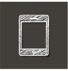 Computer tablet icon with chalk vector