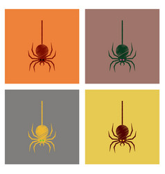 Assembly flat shading style icons halloween spider vector