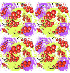 Seamless pattern red currant fruits summer vector