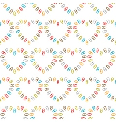 Seamless pattern of hearts lined color paper clips vector