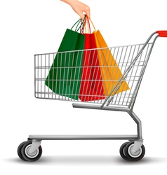 Shopping cart with colorful shopping bags Discount vector image