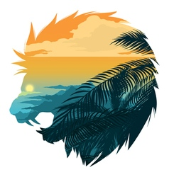 Roarin lion head silhouette vector