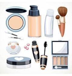 Set of objects cosmetics creameye shadow face vector