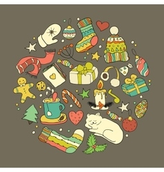 Winter doodle collection vector