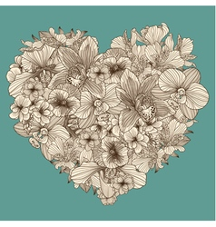 Flowers composition in a shape of heart vector