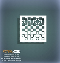 Checkers board icon on the blue-green abstract vector
