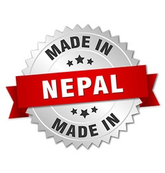 Made in nepal silver badge with red ribbon vector