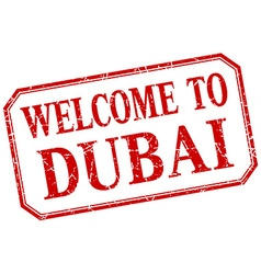Dubai - welcome red vintage isolated label vector