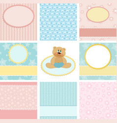 Collection of postcard backgrounds vector