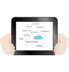 Hand and social media button on tablet pc isolated vector