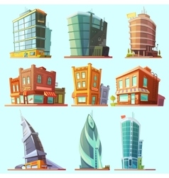 Distinctive modern and old buildings icons set vector
