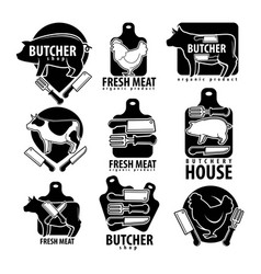 Butcher shop with fesh meat isolated monochrome vector