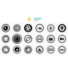 collection of black and white stamps - quality and vector image vector image