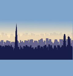 Collection of dubai beauty scenery silhouettes vector