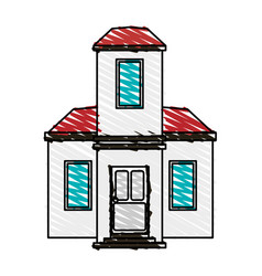 Color crayon stripe cartoon facade modern house vector