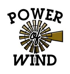 Color vintage wind power emblem vector