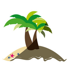 colorful silhouette of island with two palms and vector image vector image