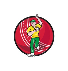 Cricket fast bowler bowling ball front cartoon vector