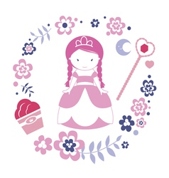 Design with princess vector image vector image