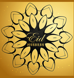 Eid mubarak card with mandala design vector