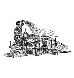 Fast mail train vintage vector